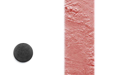 Hockey puck and red line on a white background. Hockey, concept Stock Photo