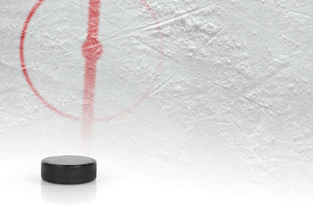 Fragment of the hockey field with the central circle and the puck. Concept, hockey Stock Photo