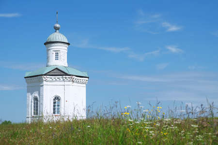 Orthodox chapel of white brick. Religion, architecture, history