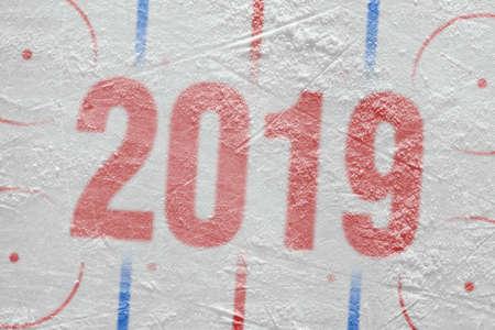 Season 2019, a fragment of the hockey rink. Concept, background, season, wallpaper Stock Photo