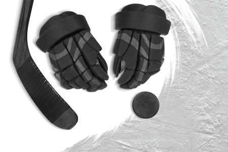 Fragment of a conceptual sports background and gloves, putter, puck. Concept 版權商用圖片