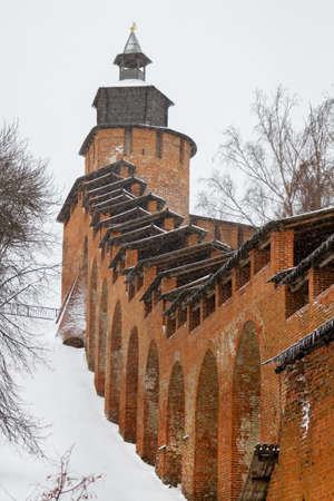 Ancient stone fortress in the city of Nizhny Novgorod. Architecture, exterior