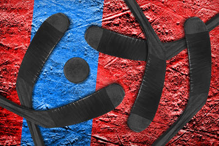 Fragment of a conceptual sports background and accessories, hockey season