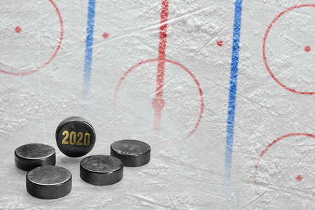 Fragment of a conceptual sports ice background and hockey accessory Фото со стока