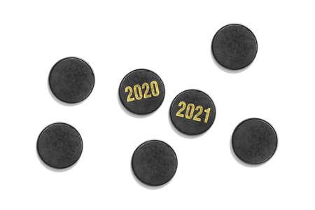 Hockey accessories close up on a white background. Accessory, hockey, season Stock Photo