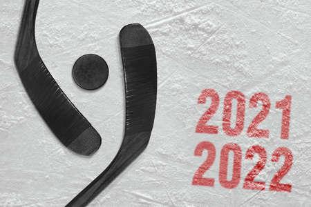 Concept, hockey season. Hockey accessories on the ice arena Stock Photo