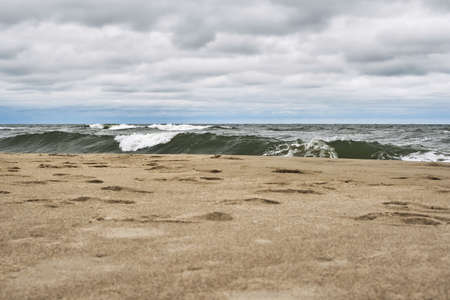 Sandy coast of the Baltic Sea in stormy weather Stock Photo