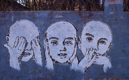 Street Art Wall Painting in Blue -- See No Evil, Hear No Evil, Speak No Evil