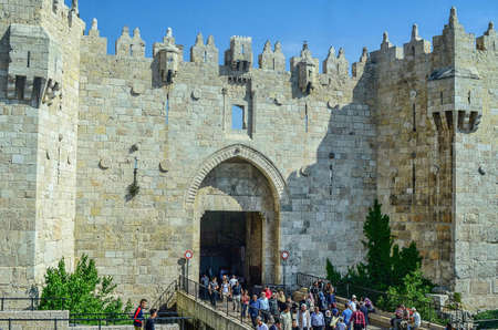 JERUSALEM, ISRAEL – MAY 5, 2017: Damascus Gate is 1 of the 4 main entrances to the Old City. Jerusalem, Israel - May 2017