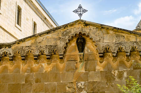 Top of Church of the Flagellation, 4th Stations of the Cross. On this place the Roman soldiers flogged Jesus Christ. Jerusalem, Israel - May 2017