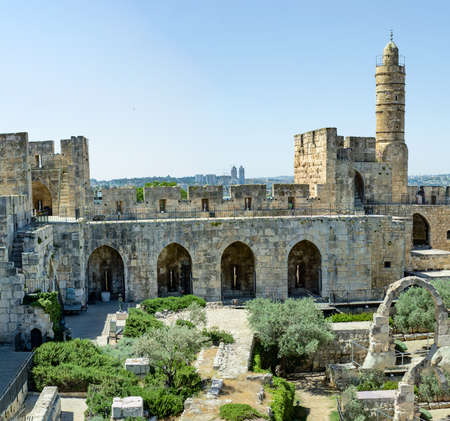 The Tower of David, an ancient Jerusalem Citadel, near the southern Jaffa Gate of the Old City of Jerusalem, Israel. May 2017 Stock Photo