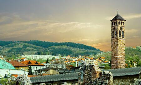 Bell Tower and Minarets Sarajevo Panorama Stock Photo