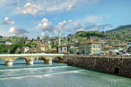 City and River Landscape of Old Town Sarajevo Stock Photo