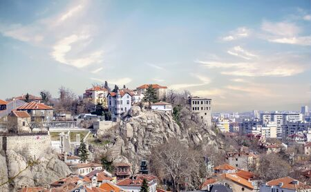 Plovdiv is an ancient city built around 7 hills, in southern Bulgaria. The Regional Archaeological Museum chronicles the city's history, with exhibits including mosaic panels, clay lamps and early coins. The Roman-era Ancient Theatre of Philippopolis, whi Stock Photo - 125976627