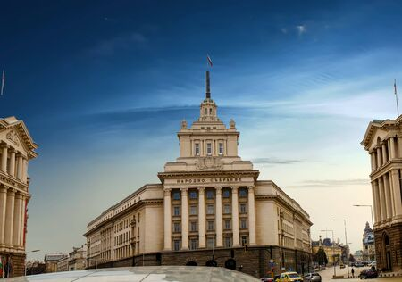 The Buildings Of The Council Of Ministers is a unique triangular building in Sofia. Stock Photo - 128292226
