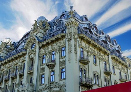 Hotel Bolshaya Moskovskaya on Derybasivska Street in Odessa. Beautiful old building in the tourist center of Odesa, summer landscape. 報道画像
