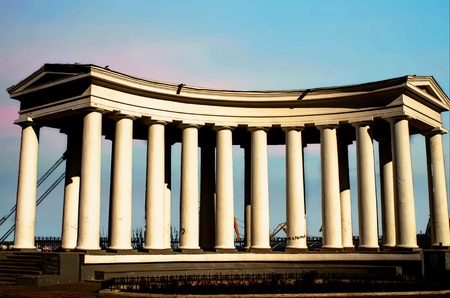The Columns Odessa monument on the shores of the Black Sea 報道画像