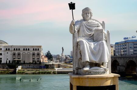 Statue of the Emperor Justinian On the Banks of the River in Skopje, Macedonia