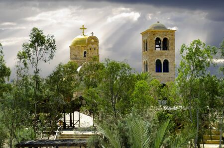 Church of St. John the Baptist. Baptism Site of Jesus Christ. Shot from Israel side of Jordan River.