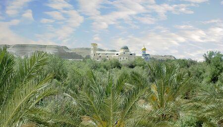Church of John the Baptist Panorama shot from Israel side of Jordan River.