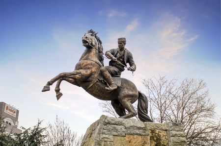 The king riding a horse to battle Skopje Macedonia Stock Photo - 128266129