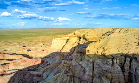 Colorful White Stupa of Mongolia. Tsagaan suvarga is big escarpment with 200m height and 400m long.