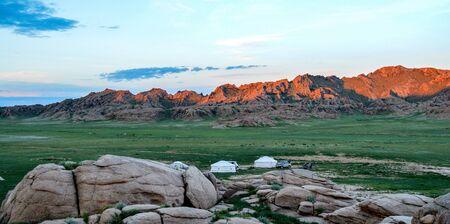 Sunrise at Mongolian Ger Campsite. Peaceful is a perfect description.