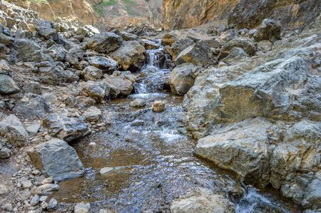 A Small Brook Coming From a Melting Glacier in July in Mongolia Stock Photo
