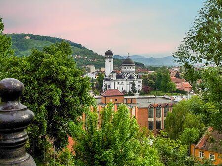 Cityscape Of Orthodox Church In Sighisoara, Romania. Stock Photo