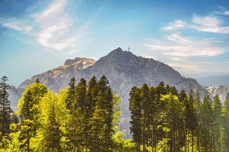 Bran Mountain and Cross near Brasov, Romania.
