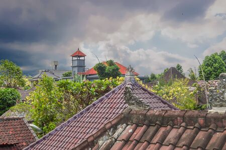 Storm Over the Roof Tops In Ubud,Bali, Indonesia