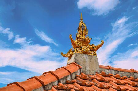 Four Golden Elephants On Rooftop In Ubud, Bali, Indonesia Stock Photo