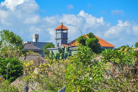 Flowers and Rooftops in Ubud Bali, Indonesia Stock Photo