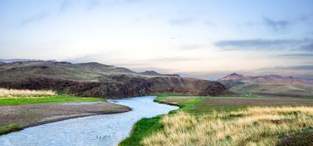 Panorama of The Ong River in Northern Mongolia. This river runs 270 miles through Mongolia.