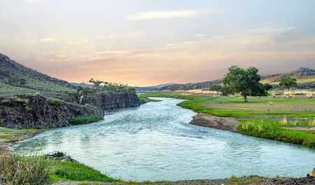 The Ongi River is 270 miles long traveling through Northern Mongolia. Stock Photo