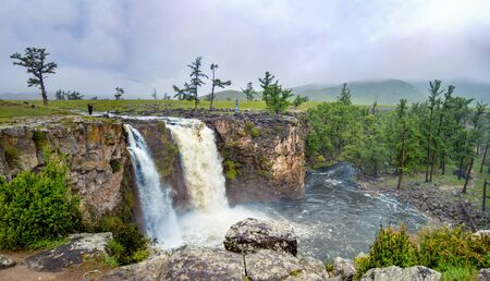 Largest Waterfall in Mongolia 20,000 years ago from volcanos and earthquakes is called Orkhon Waterfall. Stock Photo