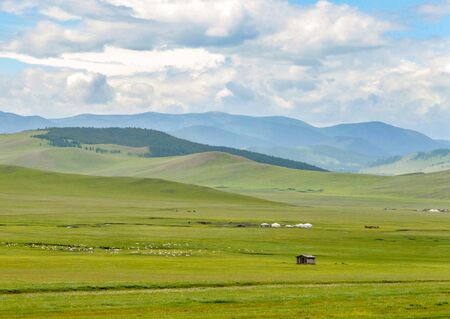 A huge expanse of grasslands used by nomadic Mongolians for their herds of sheep and horses to graze.