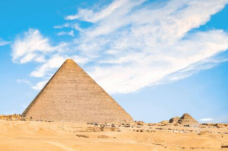 Pyramids in the Sahara Desert Viewed from Cairo, Egypt.