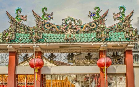 Very Ornate Gateway for Chinese Temple in Penang, Malaysia
