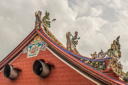 Chinese Temple With A Very Ornate Rooftop In Malaysia