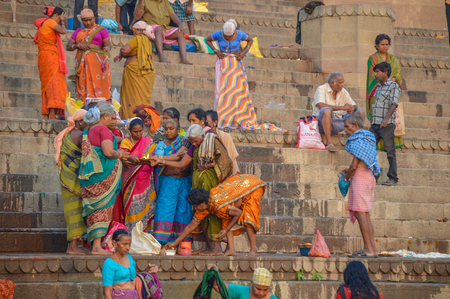 Womens Group Praying Together Ganges River Ghats in Varanasi, India