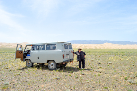 Most Mongolian tour companies use Russian Vans for transportation throughout the country. These vehicles remained in Mongolia when the Russians left. Editorial
