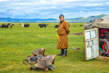 Nomad Next To His Ger Home Watches Over Herd of Yaks. Dressed in tradition Mongolian clothing. Editorial
