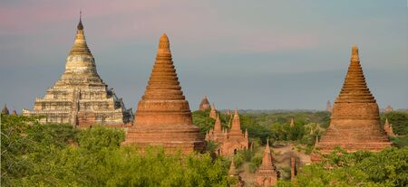 Multiple Sizes and Shapes of Temples, Stupas, and White Shwesandaw Pagoda Panorama in Bagan, Myanmar