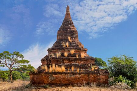 Solo Reddish Stupa Covered With Golden Grass Off By Itself In Bagan Field Stock Photo