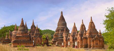 Around 12 Small Reddish Stupa Grouping in Bagan, Myanmar Panorama