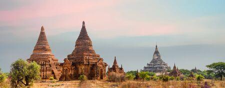 White Shwesandaw Pagoda and Multiple Stupas in Bagan, Myanmar Panorama