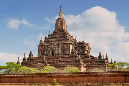 The Sulamani Temple top has a tower structure that was created in India and brought to Myanmar Stock Photo