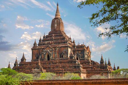 Reddish Thambula Temple was built on a pedestal base In Bagan, Myanmar