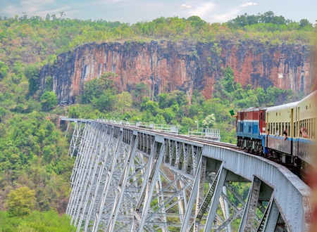 Hsipaw, Myanmar - May 5, 2016 Colonial Train to Hsipaw Going Over Oldest and One-time Longest Train Trestle in Myanmar. Gokteik Viaduct was Constructed in 1901. 에디토리얼